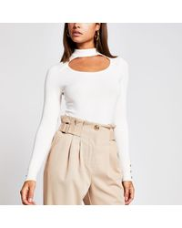 River Island Cut Out Choker Knitted Jumper - Natural