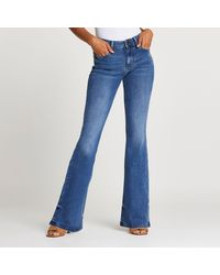 River Island Blue Mid Rise Flared Jeans