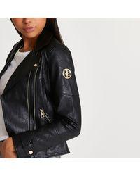 River Island Black Faux Leather Zip Detail Jacket