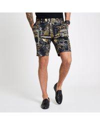 River Island - Print Smart Shorts - Lyst