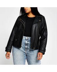 River Island Plus Zip Faux Leather Biker Jacket - Black