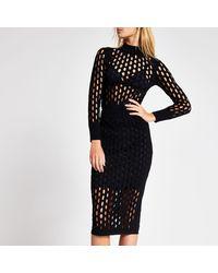 River Island Mesh Fitted Midi Skirt - Black