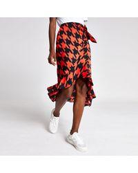 River Island Dogtooth Check Frill Midi Skirt - Red
