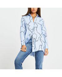 River Island Blue Stripe Chain Print Tie Back Shirt