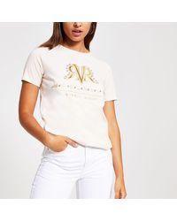 River Island Light Beige Rvr Embellished T-shirt - Natural