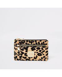 River Island Beige Leopard Print Mini Zip Pouch - Natural