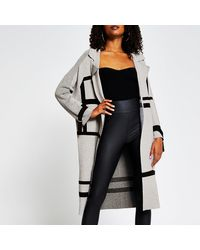River Island Gray Geo Knitted Duster