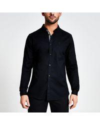 River Island Maison Riviera Black Slim Fit Oxford Shirt