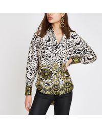 River Island - Leopard Print Long Sleeve Blouse - Lyst