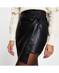 River Island Black Faux Leather Twist Front Mini Skirt