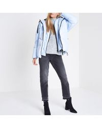 River Island - Light Blue Double Layer Hooded Puffer Jacket - Lyst
