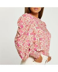 River Island Pink Floral Puff Sleeve Top