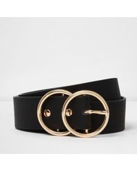 River Island | Black Gold Tone Double Ring Belt | Lyst