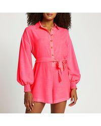 River Island Pink Tie Waist Long Sleeve Beach Playsuit