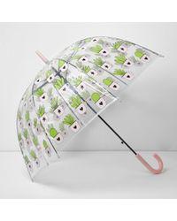 River Island Cactus Print Dome Umbrella - Multicolour