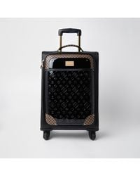 River Island Black Ri Patent Monogram Suitcase