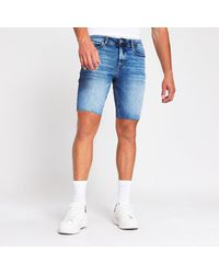 River Island Blue Cut Off Sid Skinny Denim Shorts