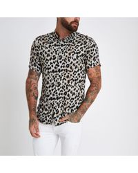 River Island - Leopard Print Revere Slim Fit Shirt - Lyst