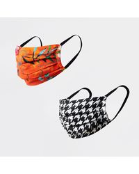 River Island Orange Tropical Print Face Covering Pack Of 2