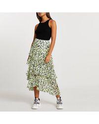 River Island Green Floral Ruffle Maxi Skirt