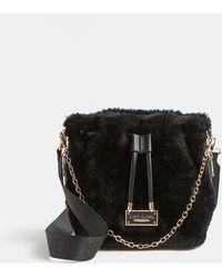 River Island Black Faux Fur Bucket Bag