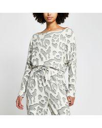 River Island Cream Leopard Print Pyjama Top - Grey