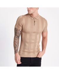 River Island - Brown Ribbed Muscle Fit Polo Shirt - Lyst