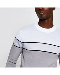 River Island Grey Blocked Knitted Waffle Slim Fit Jumper
