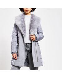 River Island Padded Longline Belted Jacket - Gray