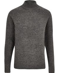 River Island - Only And Sons Grey Knit High Neck Jumper - Lyst