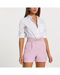 River Island Pink Turn Up Hem Shorts