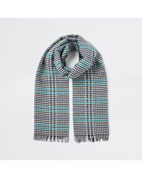 River Island Black Boucle Check Scarf
