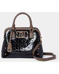 River Island Patent Ri Embossed Mini Tote Bag - Black