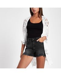 River Island - Distressed High Waisted Shorts - Lyst