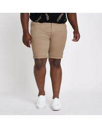 River Island - Big And Tall Tan Skinny Fit Chino Shorts - Lyst