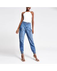 River Island Mid Blue Becky jogger Jeans