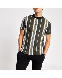 River Island Herringbone Stripe Slim Fit T-shirt - Black