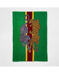 River Island Leopard Print Scarf - Green