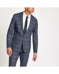 River Island Bright Blue Check Skinny Suit Jacket Bright Blue Check Suit Waistcoat Bright Blue Check Skinny Suit Trousers