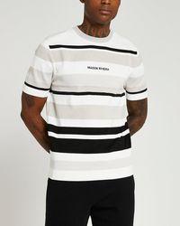 River Island Maison Riviera Stone Slim Fit Stripe T-shirt - White