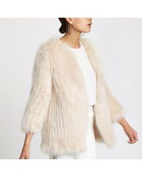River Island - Knitted Faux Fur Coat - Lyst