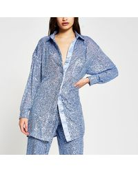 River Island Blue Long Sleeve Sequin Shirt