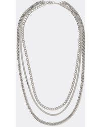 River Island Silver Colour Layered Three Chain Necklace - Metallic