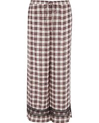 River Island - Red Check Lace Trim Pyjama Trousers - Lyst