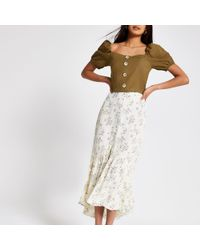 River Island - Cream Ditsy Floral Maxi Skirt - Lyst