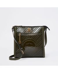 River Island Khaki Ri Branded Embossed Messenger Bag - Green