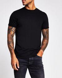 River Island Rolled Sleeve Slim Fit T-shirt - Black