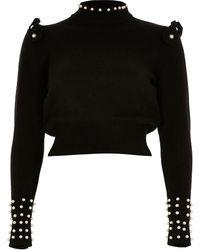 River Island Petite Black Pearl Trim Sweater