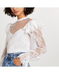 River Island White Lace Sheer Frill Blouse Top
