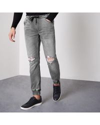River Island - Grey Ryan Jogger Jeans - Lyst